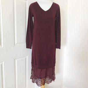 NEW Club Monaco Burgundy Wool Faux Slip Dress
